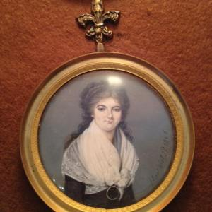 This is a cameo of the granddaughter of Admiral de Grasse on display at the Customs House on Main Street- check out her braid headband!